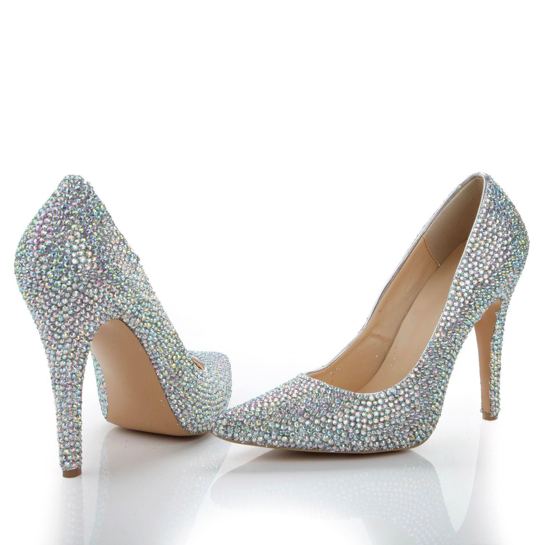 2017 New Wedding Shoes Silver 8cm Heel Sparkly Rhinestone ...