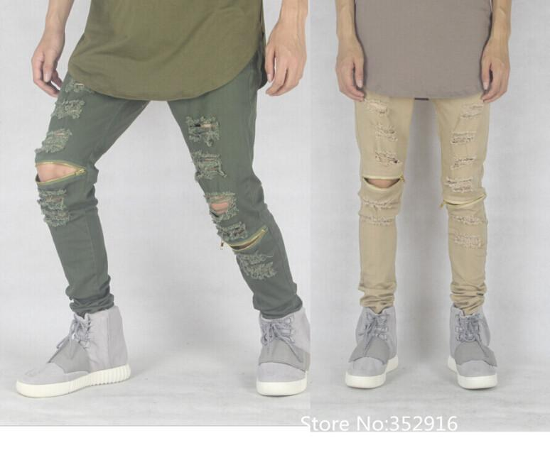 2017 Wholesale Sand Colour Olive Green Skinny Ripped Jeans For Men ...
