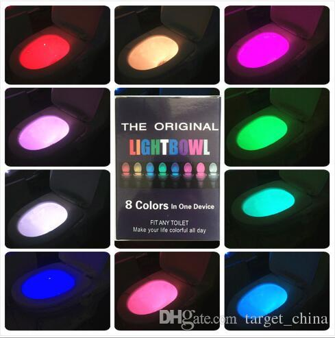 colorful toilet nightlight motion human body auto motion activated sensor seat light night lamp 8color changes free dhl wholesale night