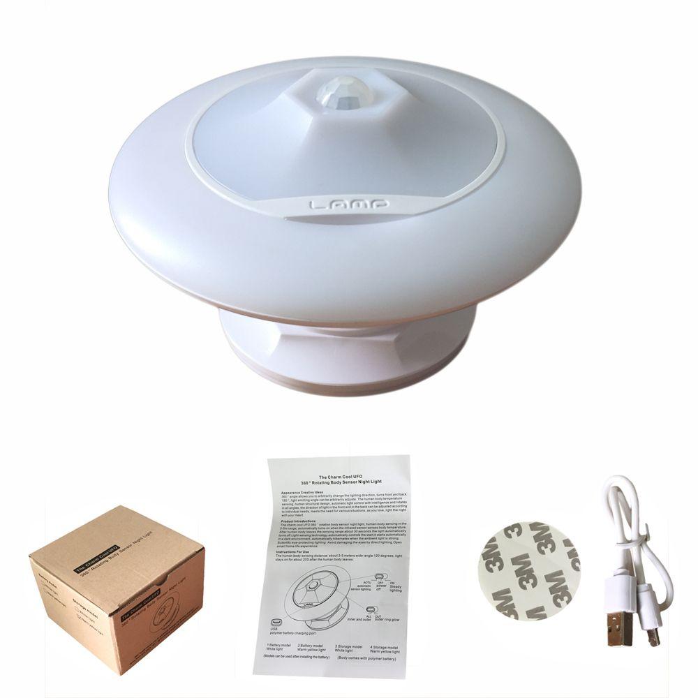 Night light with motion sensor - Ufo Motion Sensor Led Night Light 360 Degree Rotating Step Wall Light Lamp For Hallway Closet