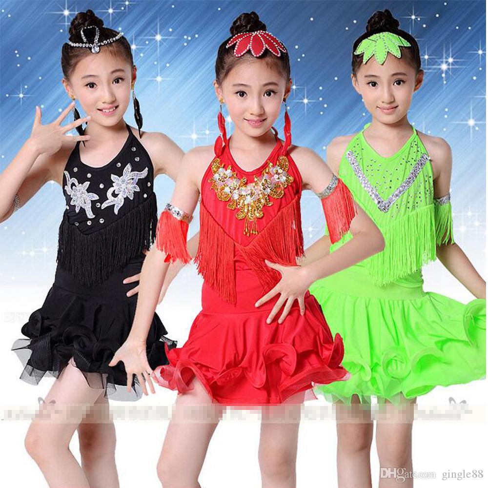 Red Green Professional Latin Jazz Dance Dress For Girls Rumba ...
