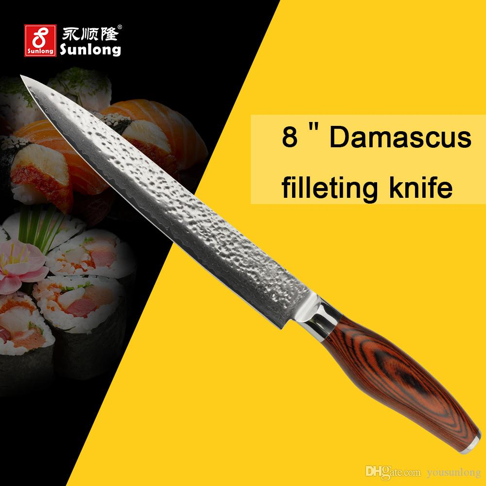 sunlong 8inch high quality filleting knives vg10 damascus steel 50