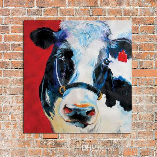 framed adorable cow farm theme arthand painted modern venice animals art oil paintinghome wall decor on quality canvas multi sizes c025