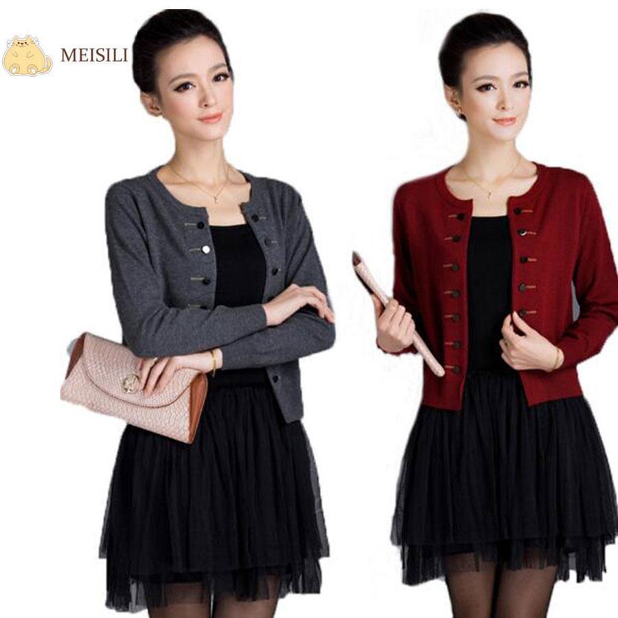 Wholesale-MEISILI Spring Autumn Woman Cardigans Plus Size O-neck ...