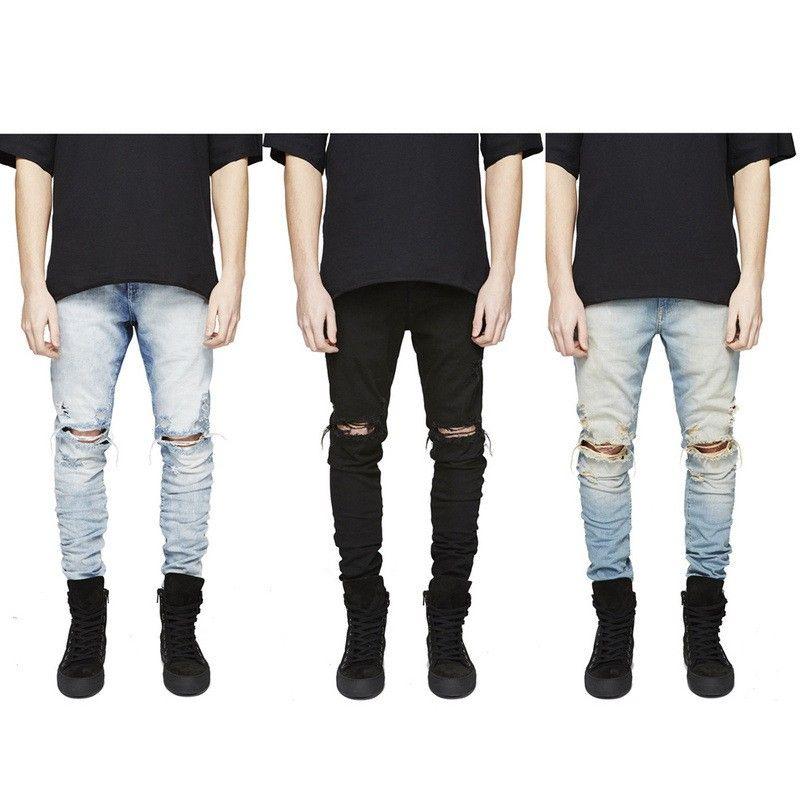 Slim Fit Ripped Jeans Men Hi-Street Mens Distressed Denim Joggers ...