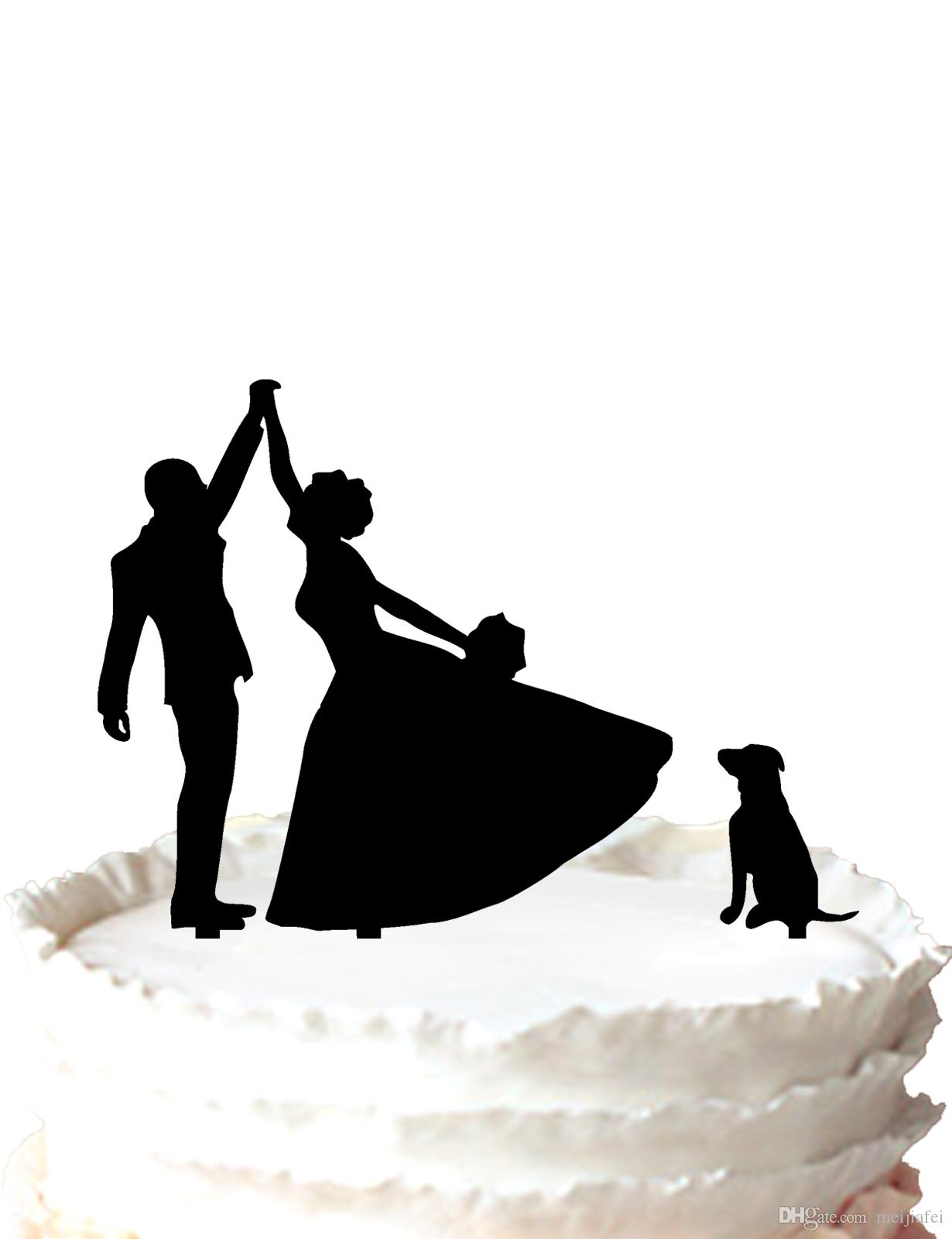 wedding cake topper bride and groom highfive silhouette with labrador dogfor option labrador dog cake topper wedding cake topper bride groom cake topper