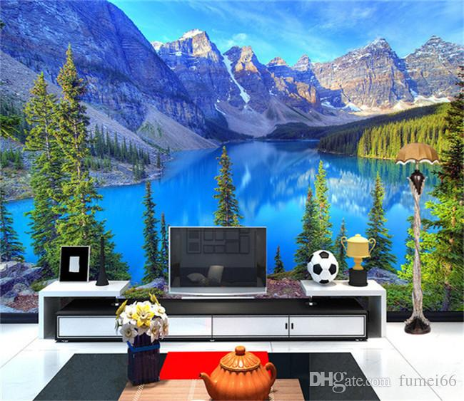 Custom 3D Photo Wallpaper Room Mural Mountain Peak Park Landscape Living Room  Wall Mural Painting Wallpaper Papel De Parede 3D Mural Wallpaper Landscape  ... Part 59