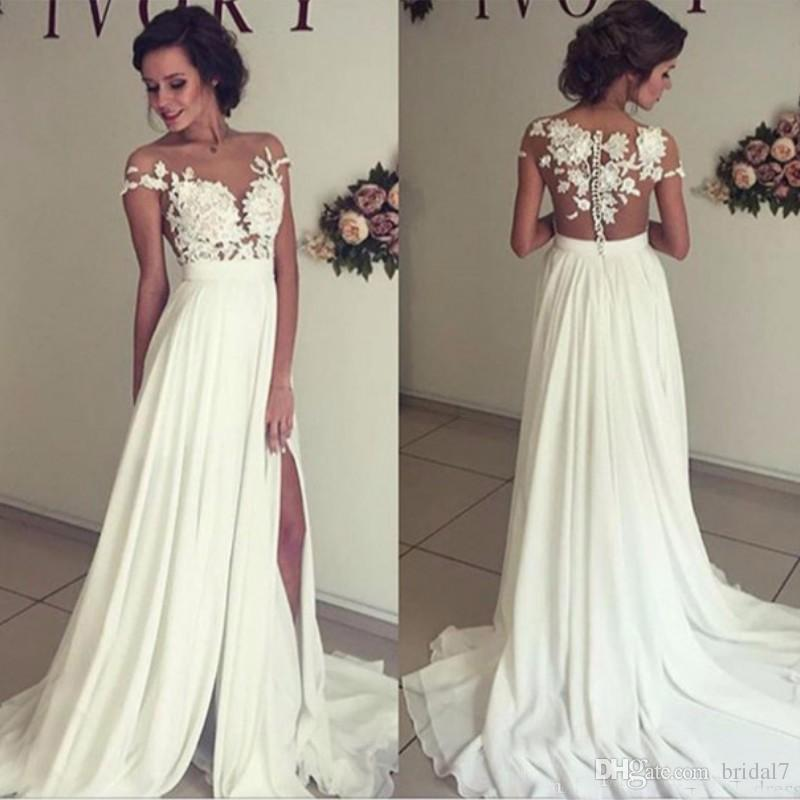 2017 Simple Chiffon Wedding Dresses With Sheer Scoop Neckline Side Split  Floor Length Bridal Gowns Vestido De Novia Chiffon Wedding Dresses Online  With ...