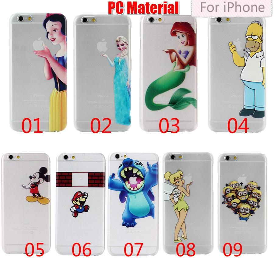 Clear Cartoon Simpson Minions Stitch Blanc Neige Blanc Transparent Hard Case pou