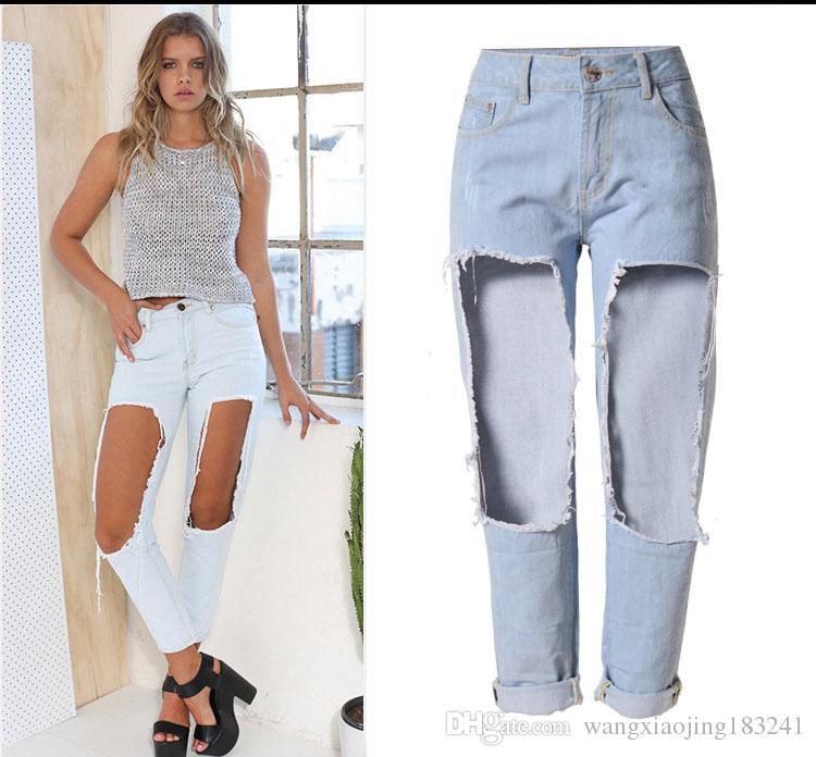 2017 2017 Hot Sale Big Hole Ripped Blue Boyfriend Jeans For Women ...