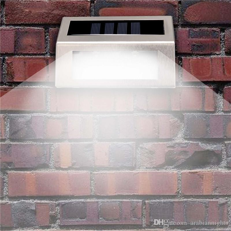 3LED Solar Powered Wall Light 3 LED Light Wall Mount Garden Path Lamp Éclairage Step Outdoor Patio Gutter Fence Lighting