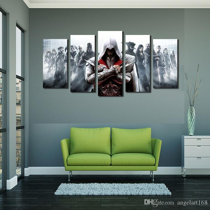 Unframed Assassins Game Poster Wall Art Oil Painting On Canvas Fashion Textured Abstract Paintings Picture Living Room Decor