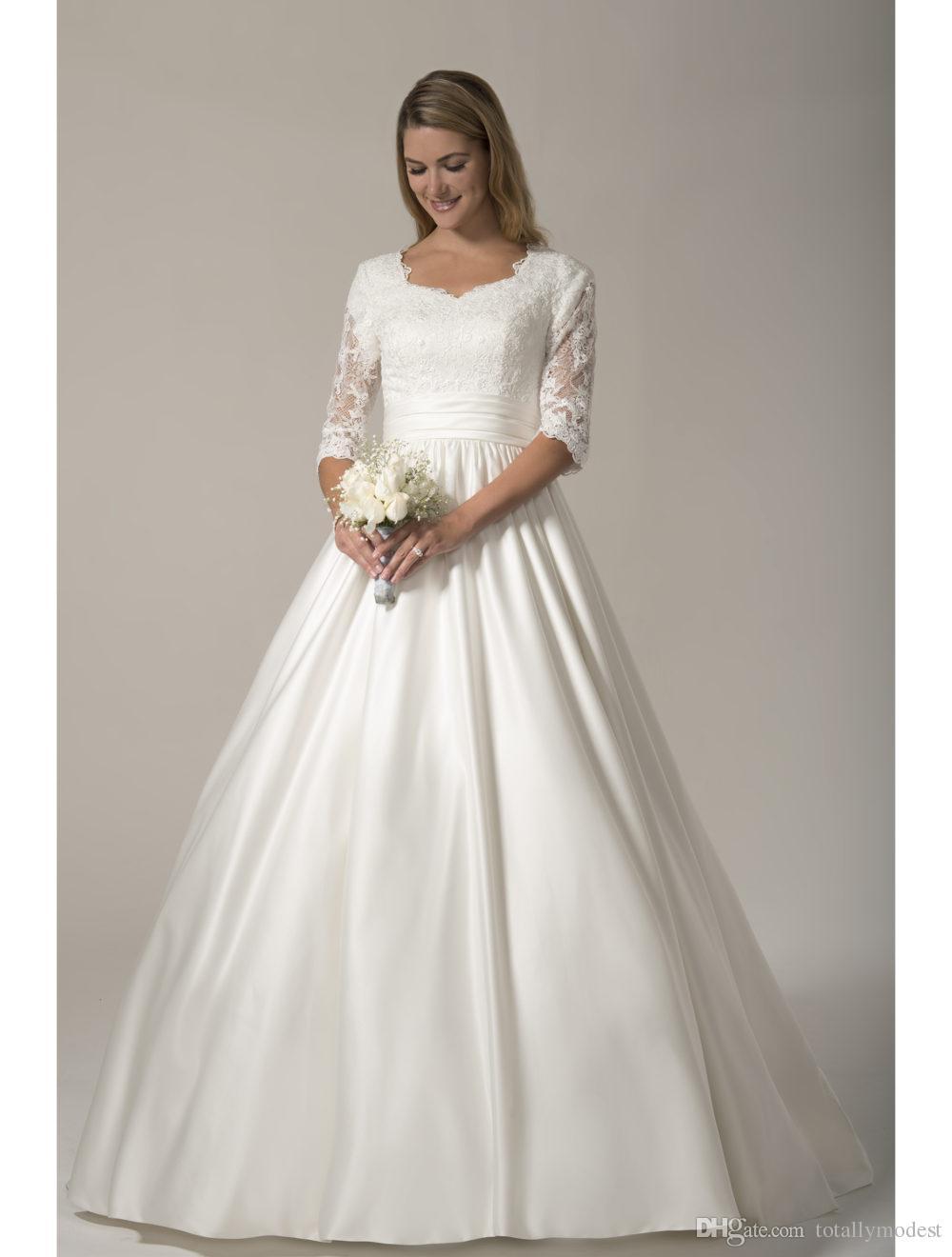Discount 2017 designer country modest wedding dresses long for Modest wedding dress designers