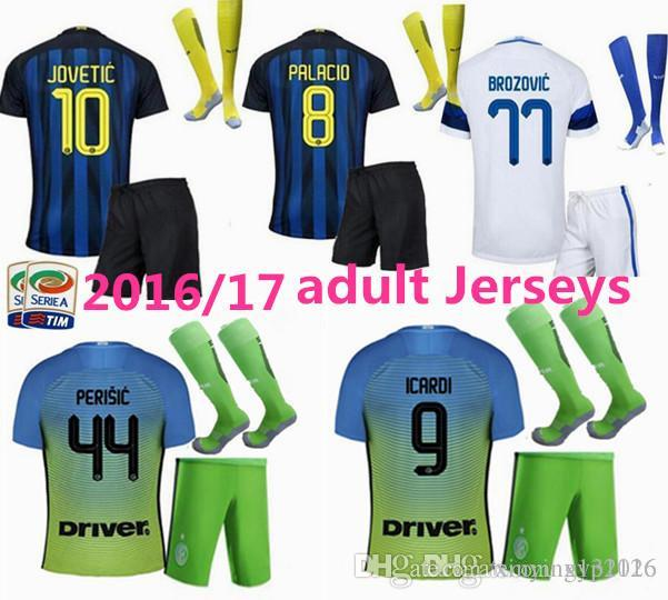 Kit masculin + chaussettes Inters jersey football costume 2016 17 JOVETIC BIABIA