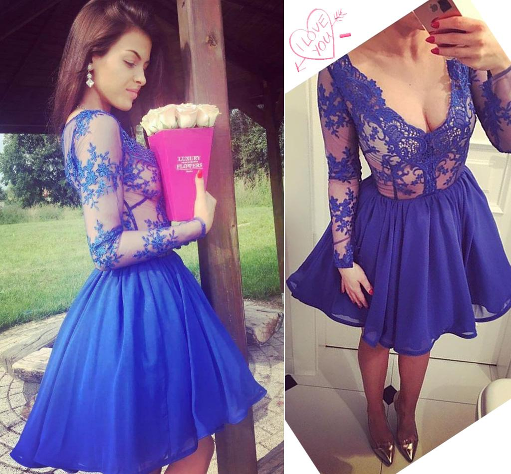 Sexy Royal Blue Short Prom Dresses V Neck Illusion Long Sleeves ...