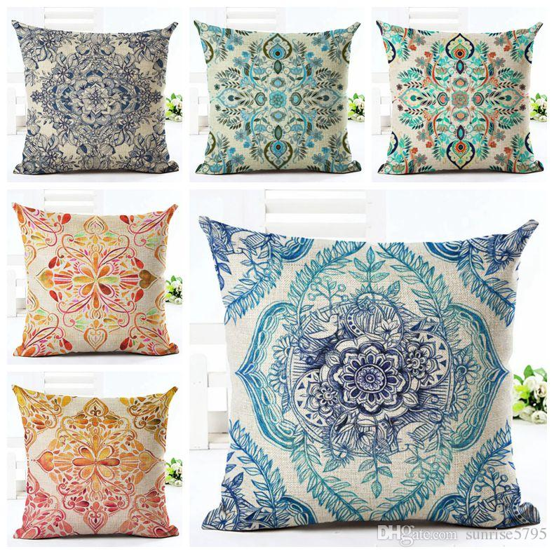 Rustic Floral Cushion Cover Shabby Chic Ethnic Home Decor Boho Sofa Bed Throw Pillow Case Vintage