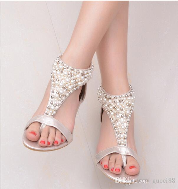 New 2017 Ffemale Sandals Wedges Summer Roman Flat Zipper Low Heel Female Wedding Shoe Dress Shoes Online With 3543 Pair On