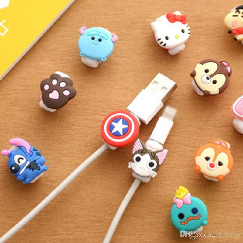 Cute Lovely Cartoon Protector de câble USB Cable Winder Cover Case Shell pour IP