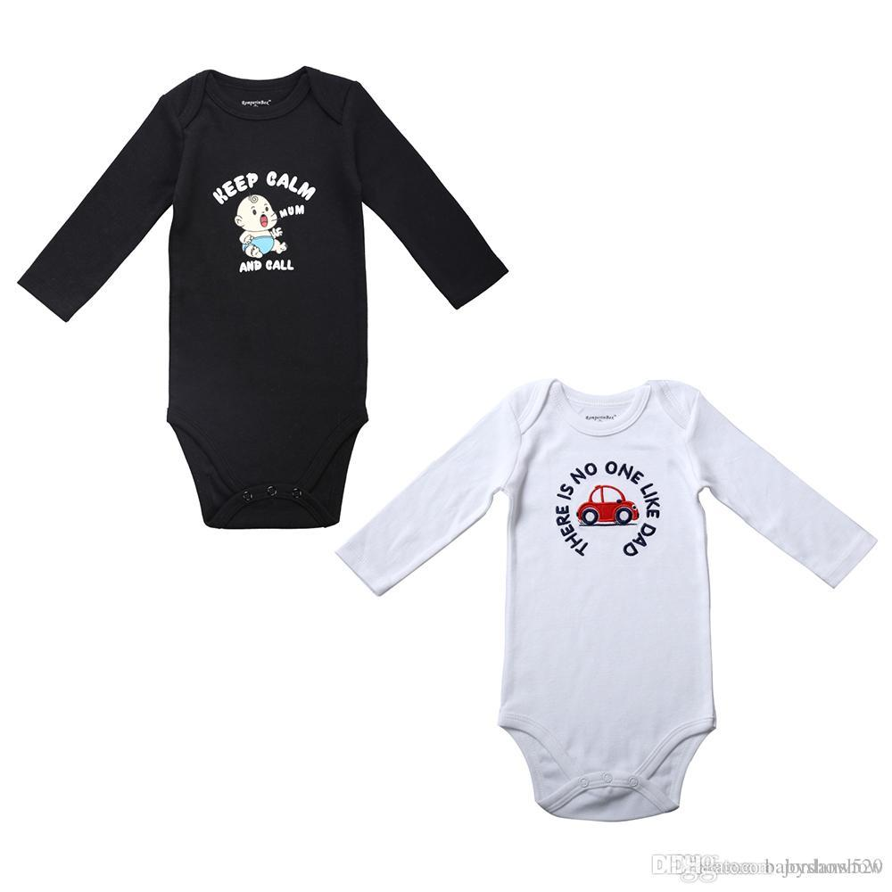 Black white baby boy clothes newborn fashion clothes baby rompers long sleeve mom dad funny body