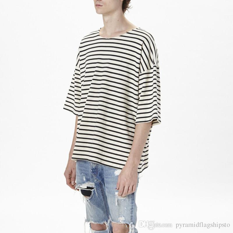 oversized t shirt men hip hop striped tee shirt skate rock swag clothes men kpop streetwear