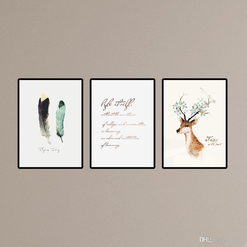 Modern Diy Frame Nordic Deer Art Prints Painting 3 Piece Canvas Art Feather Home Decor Wall