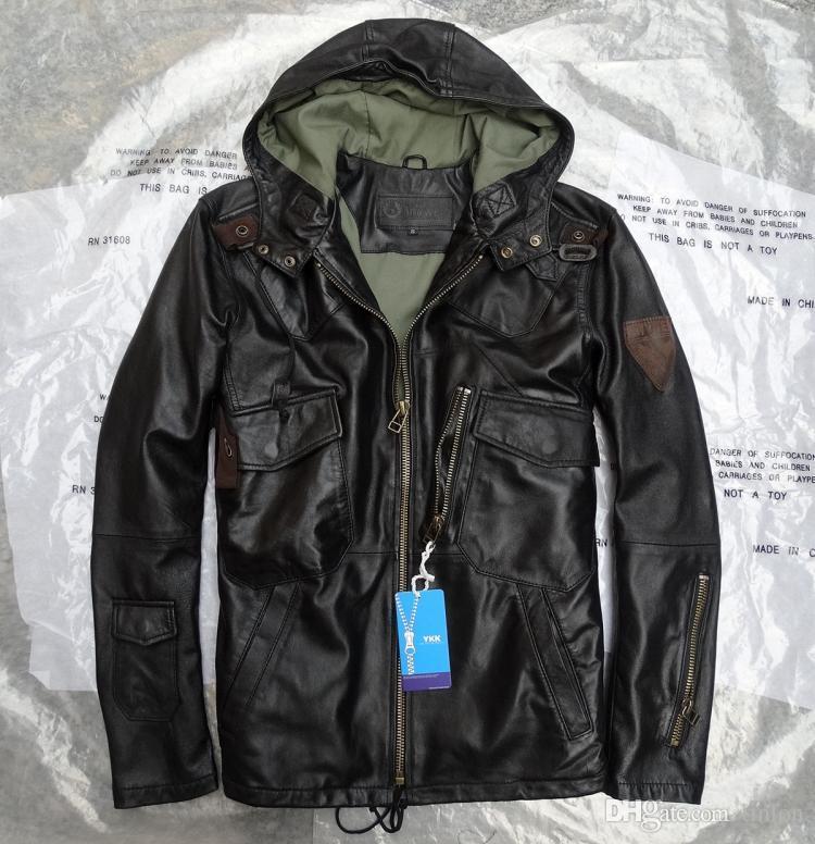Classic US Army Full Sheepskin Hooded Men's Genuine Leather Jacket ...