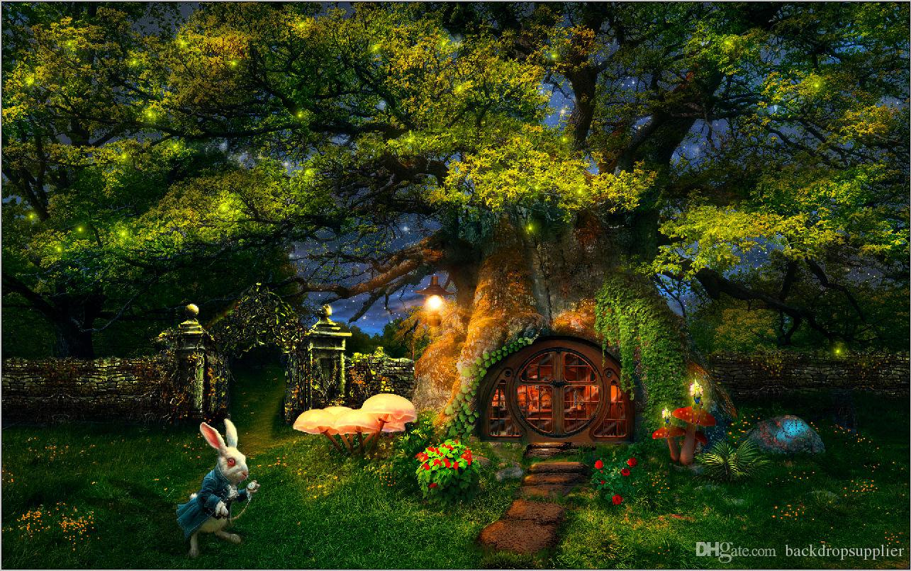 2017 7x5ft alice wonderland garden tree house rabbit custom photo studio background backdrop. Black Bedroom Furniture Sets. Home Design Ideas
