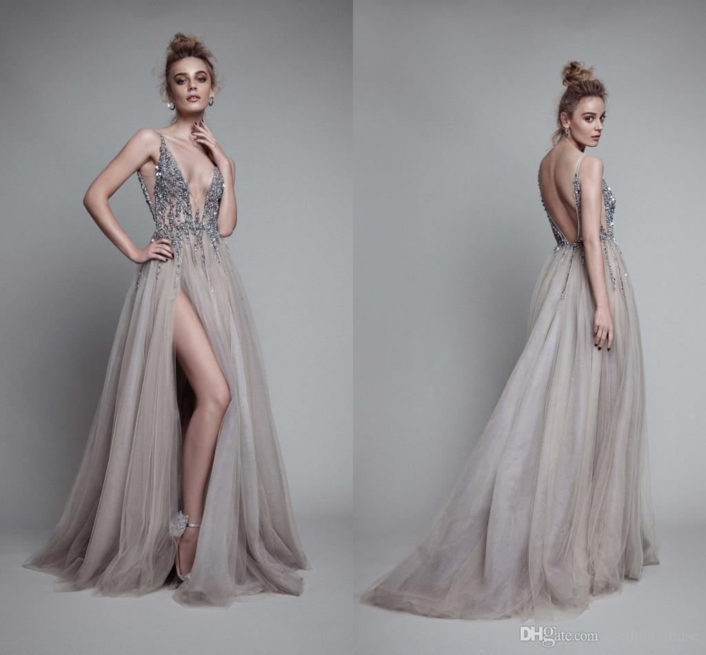 2017 Berta Sexy Dresses Evening Wear Deep V Neck Sleeveless Split ...