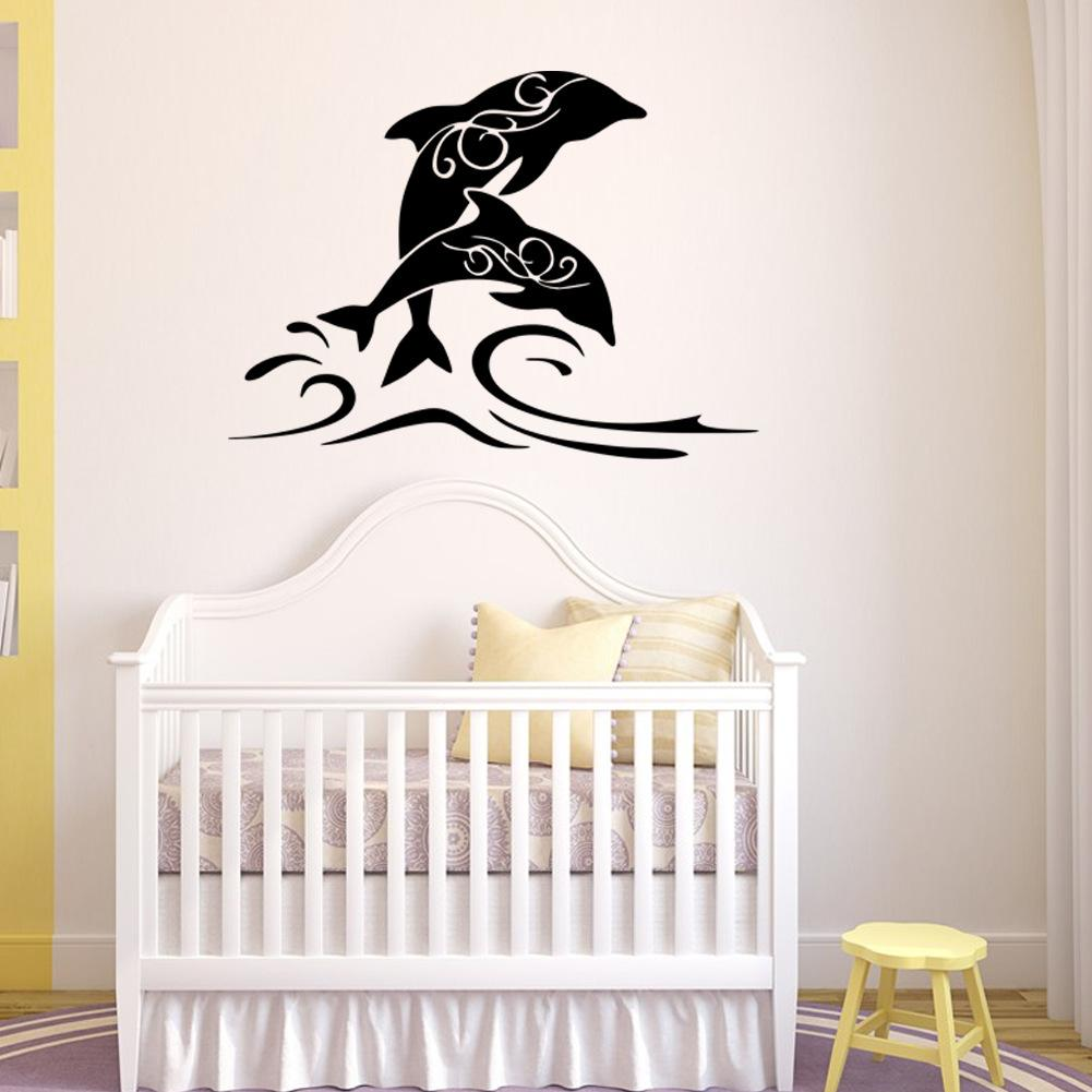 Hot sale jumping dolphin art mural wall decal pvc removable hot sale jumping dolphin art mural wall decal pvc removable cartoon animal wall stickers for living room bedroom and kids room decoration cartoon animal amipublicfo Image collections