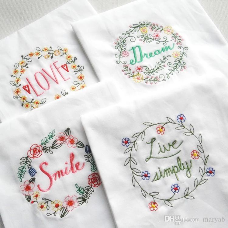 Gift White Kitchen Tea Towel With Embroidery Flour Sack