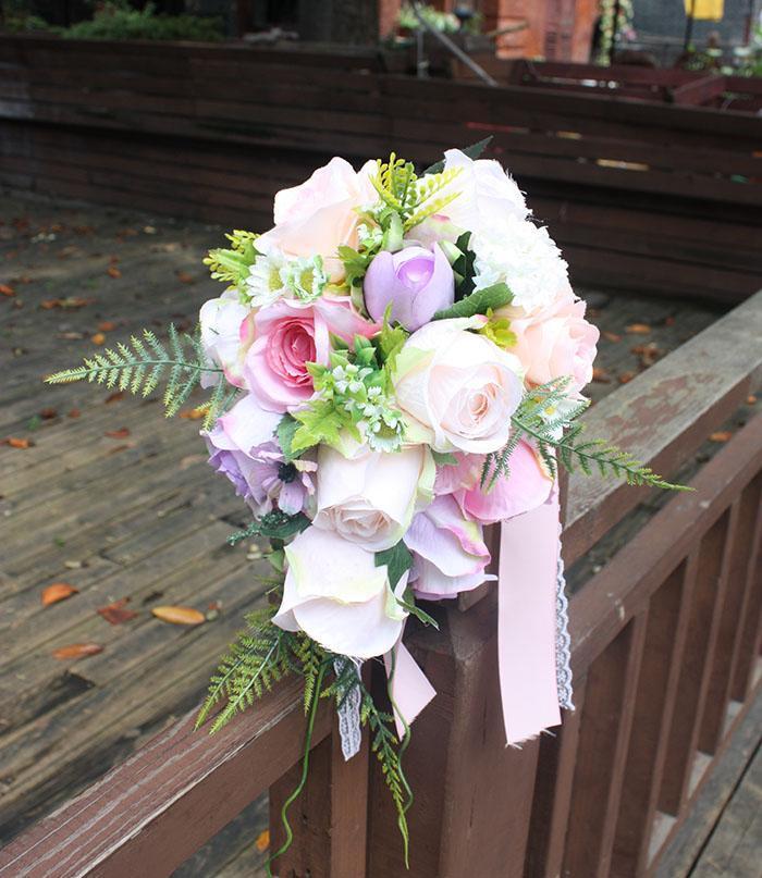 Bridal Bouquet Flowers Or Two Waters Crossword Rose Wedding Silk Waterfall