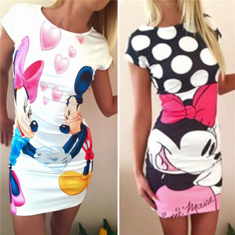 Vente en gros-Womens Casual Minnie Robe Summer Bandage Cartoon Paquet Hanche Rob