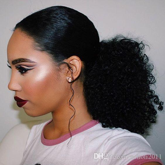 Ponytail Human Hair Extensions Kinky Curly Brazilian