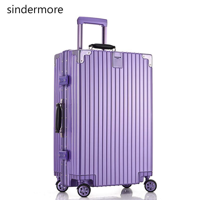 Sindermore 20 Vintage Travel Luggage Suitcase PC Aluminum Frame ...