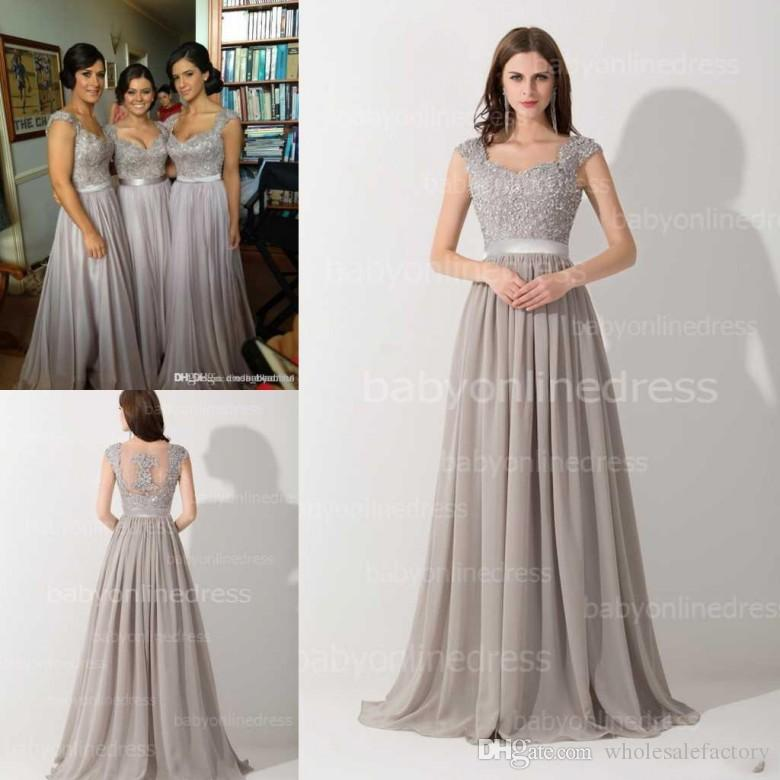 Only $59 Sheer Lace Chiffon Summer Bridesmaid Dresses 2017 A Line ...