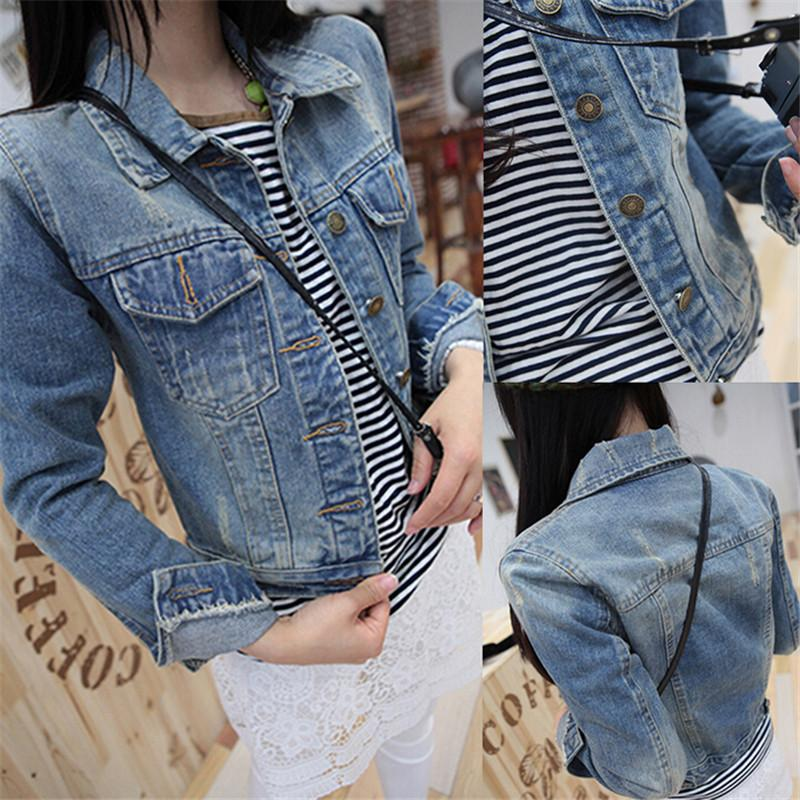 Vente en gros- New 2016 Ladies Denim Jackets Outerwear Jeans Manteau Classical Jackets Femmes Mode Jeans Manteaux Rivets Femelle Vestes