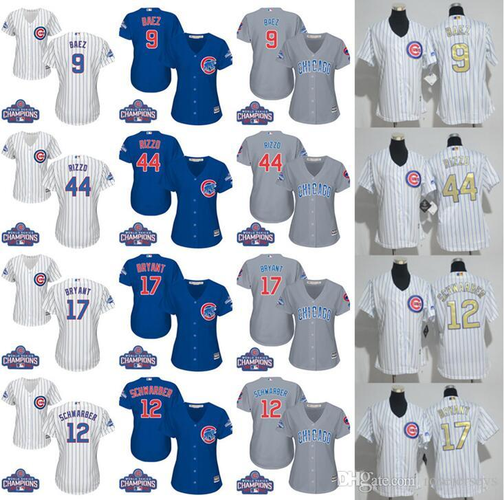 Womens Chicago Cubs 17 Kris Bryant 9 Javier Baez 44 Anthony Rizzo série mondiale