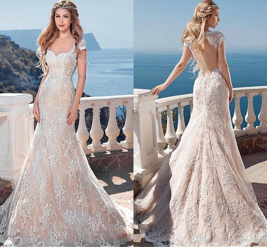 2016 blush summer beach boho mermaid lace wedding dresses for Bohemian mermaid wedding dress