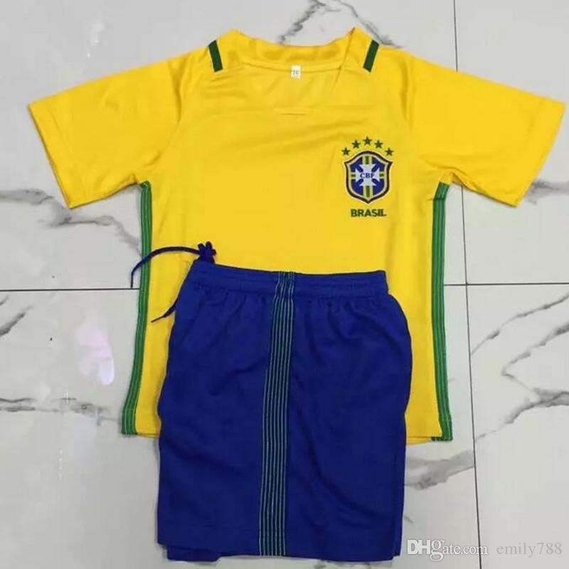 a897ed99c ... men short sleeve plus size top quality 2016 2017 brazil kids soccer  jerseys home away soccer