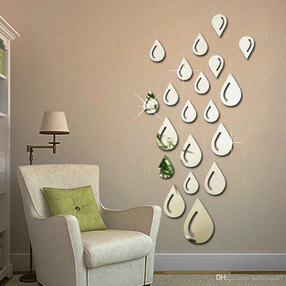 Water drops raindrop shape acrylic mirror wall sticker for Big wall mirror for living room