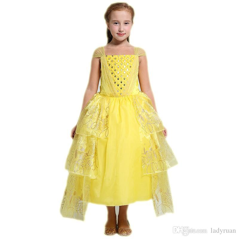 2017 beauty and the beast belle cosplay costume kids