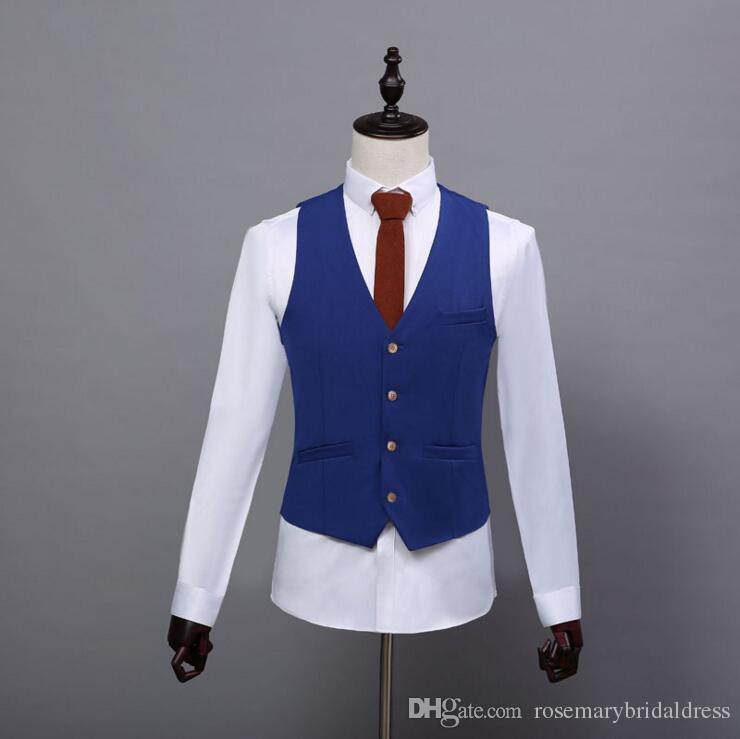 2017 Summer Farm Wedding Royal Blue Tweed Vests Custom Made Groom ...