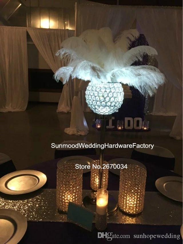 Wholesale glass crystal diamond feather centerpieces with