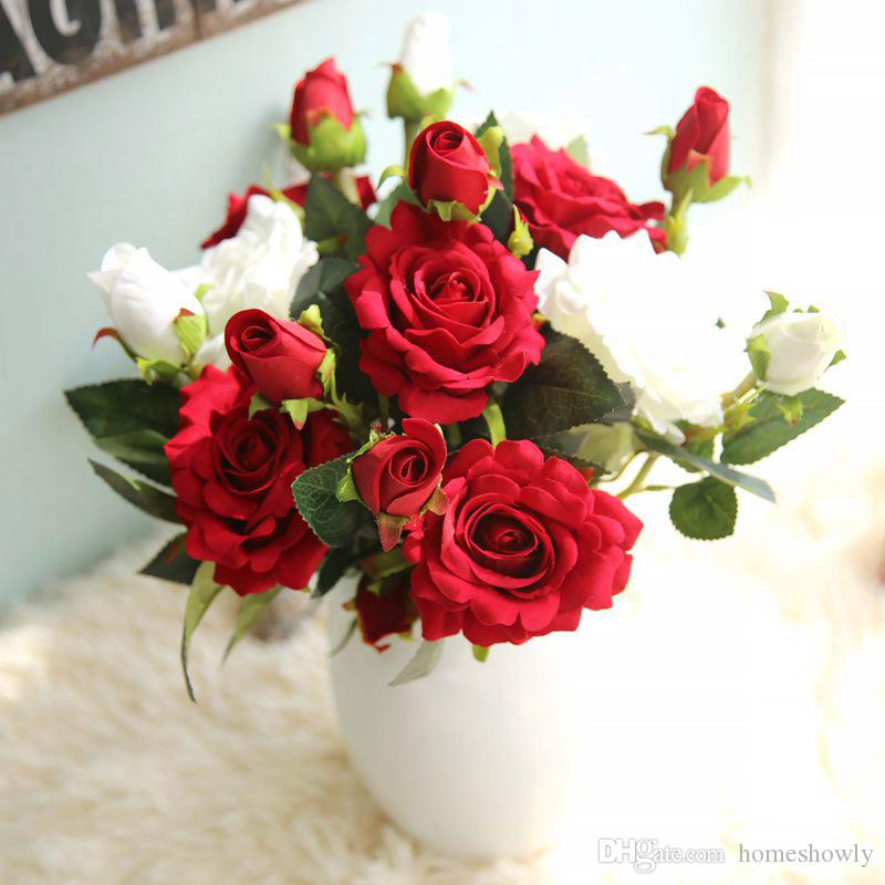 flannel rose branches single headdouble bud wedding decoration bouquet home dining table flower bunch ornaments single bunch rose rose branches rose