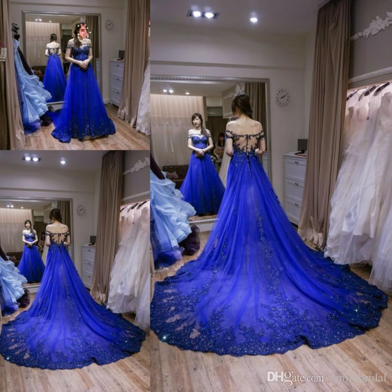 Discount unique royal blue wedding dresses a line boat for Short blue wedding dresses