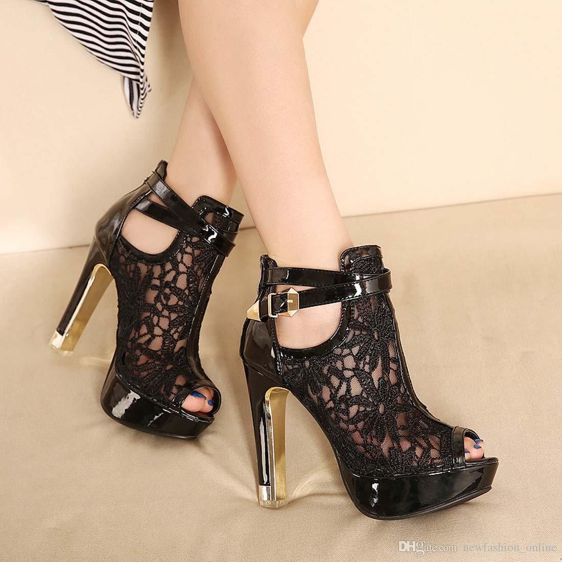 Black party sandals - Women Sandals Lace Lady Party Girl Shoes Platform White Black Wedding Shoes Stiletto High Heels Open Toe Dress Shoes Ankle Strap