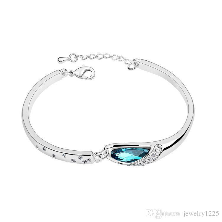 Luxury Sapphire Bracelets Jewelry New Style Charms Blue Austria Diamond Bangle Bracelet 925 Sterling Silver Glass Shoes Hand Jewelry