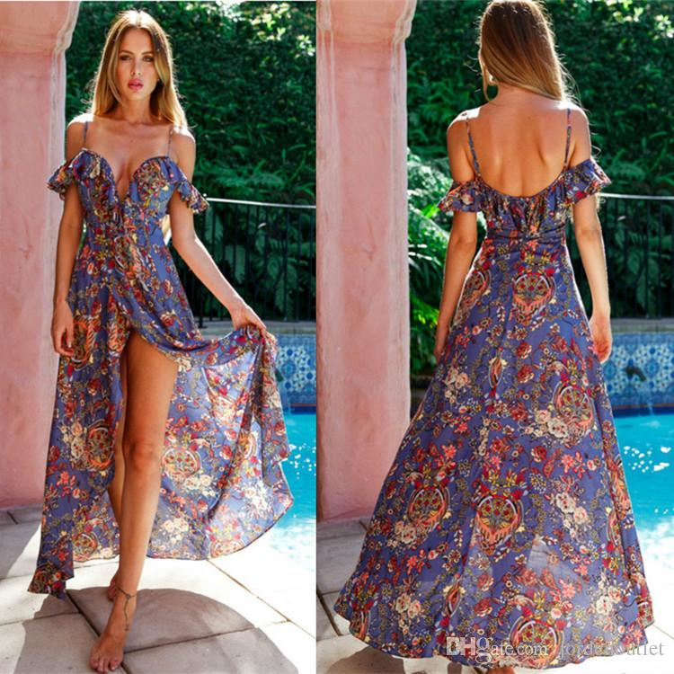 Chiffon Summer Flora Printed Slip Long Dress Flowy ...