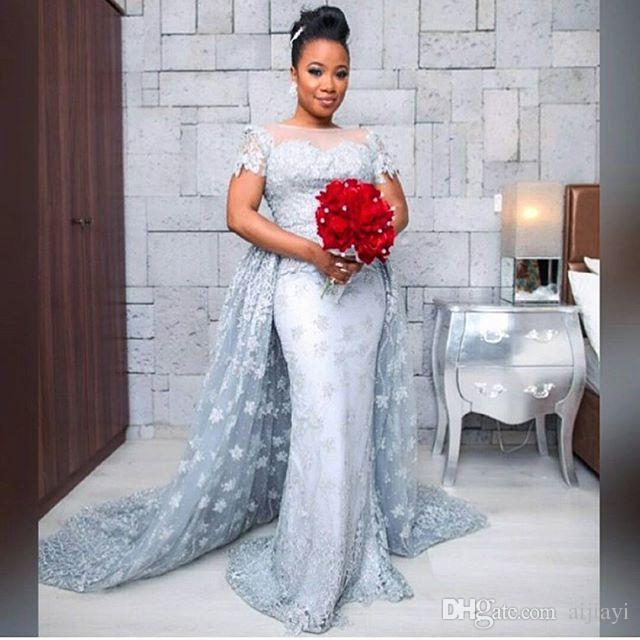 New Light Sky Blue Mermaid Wedding Dress Detachable Train Short Sleeves Lace Bride Dresses Peplum Scoop Neck Zipper Back Plus Size
