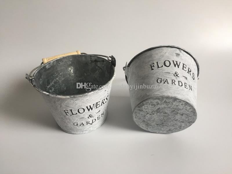 wholesale metal buckets garden pail antique white metal flower pot succulent pots flower buckets succulents pots planter metal online
